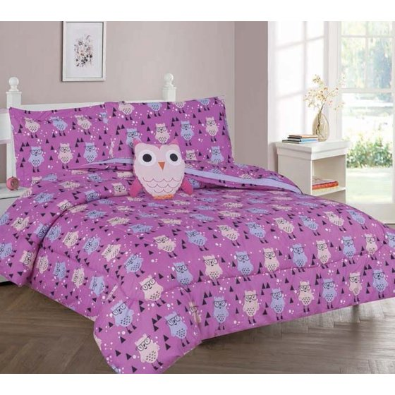 Twin Owl Girls Bedding Set Beautiful Microfiber Comforter