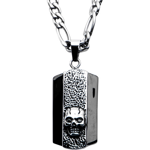 """Steel Art Men's Stainless Steel Black Eyes Skull Dog Tag Pendant with 24"""" Chain Necklace"""