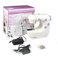 Ccdes Sewing Machine,Miniature Purple Electric Household Dual-speed Sewing Machine EU Plug, Miniature Sewing Machine