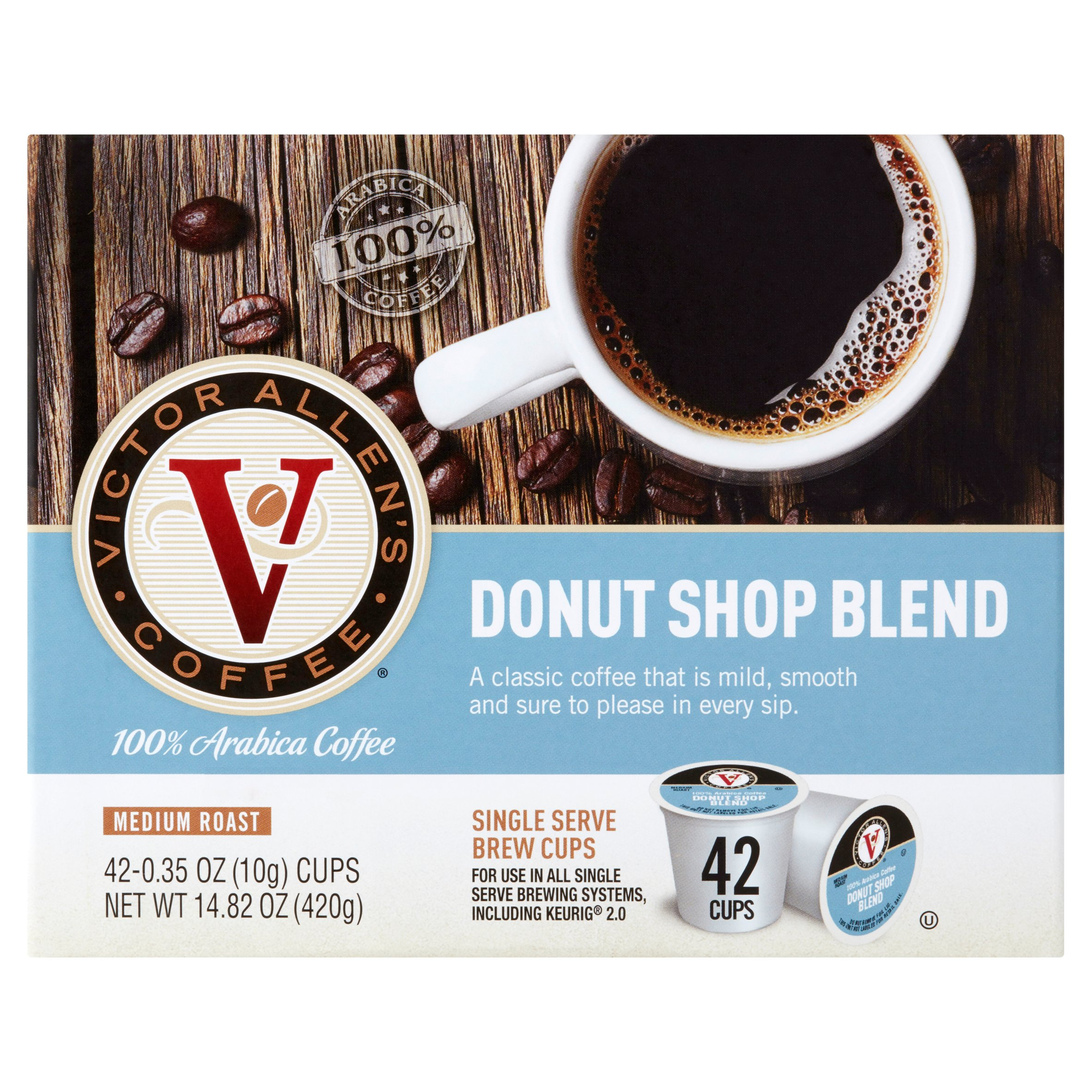Victor Allen's Coffee Donut Shop Blend Medium Roast, 0.35 oz, 42 count