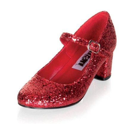 Sparkling Mary Jane Red Glitter Shoes with Adjustable Buckle and 2 Inch Heels