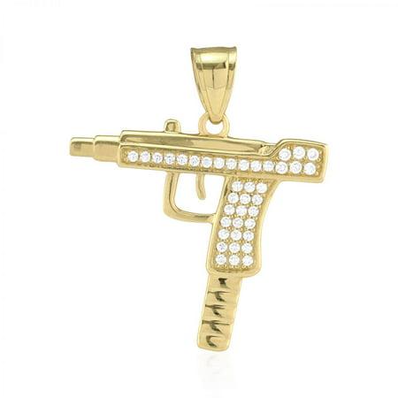 10k Yellow Gold Created Diamond Pave Set Uzi Machine Gun Pendant 1.2