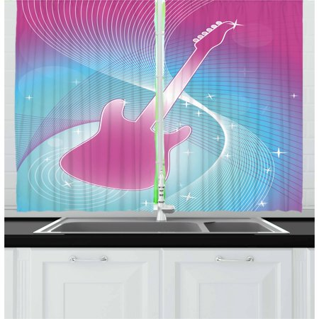 Hot Pink Curtains 2 Panels Set, Hot Pink Guitar on Vibrant Colored Backdrop Music Themed Abstract Image Print, Window Drapes for Living Room Bedroom, 55W X 39L Inches, Hot Pink Aqua, by (Guitar 2 Cd Set)