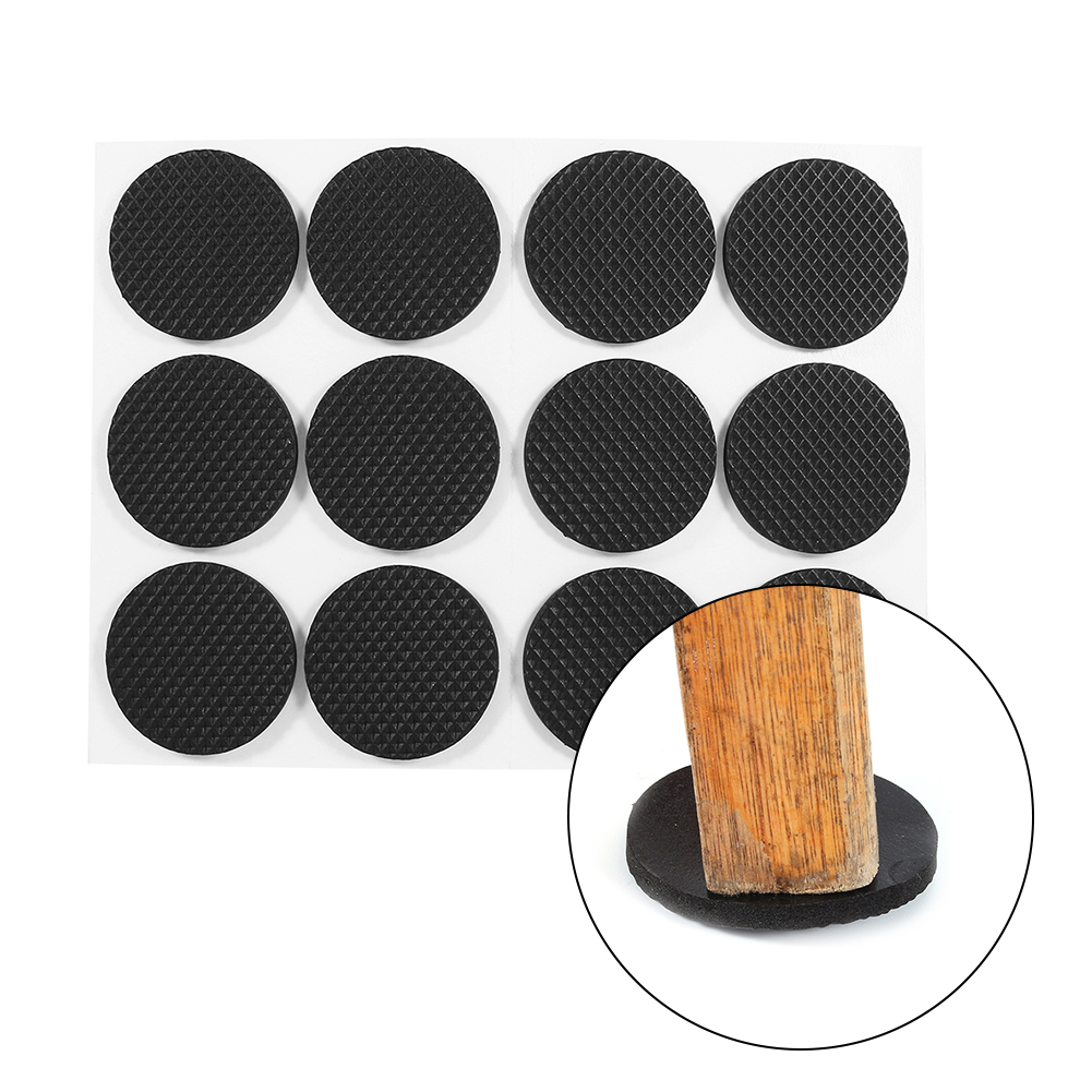 Keenso 12Pcs Black Self Adhesive Floor Protectors Furniture Sofa Table Chair  Rubber Feet Pad Round,