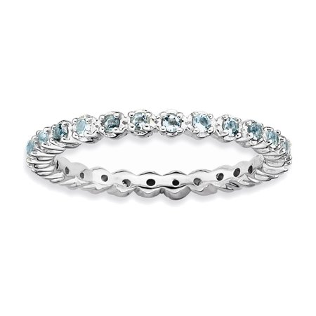 Aquamarine Gemstone Stackable Ring (Sterling Silver Stackable Expressions Aquamarine Ring Size)
