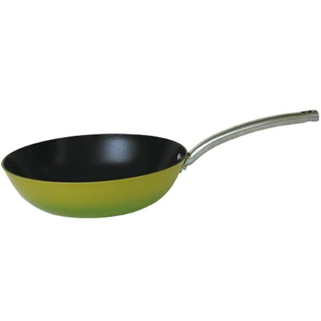 2 Tone Pan - Light Enamel Cast Iron Nonstick Fry Pan - 12 in. - Two Tone Green