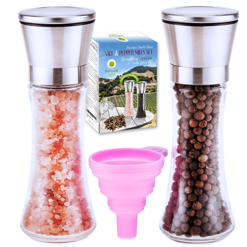 Salt and Pepper Grinder Set -Dry Spice Mill-Brushed Stain...