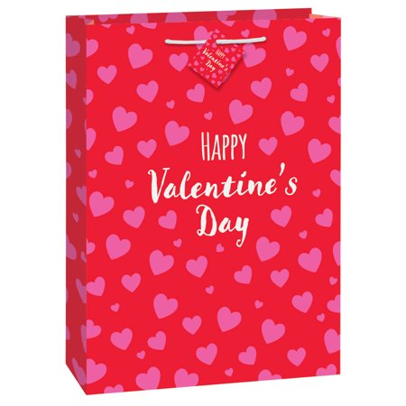 Large Red & Pink Hearts Happy Valentine's Day Gift Bag, 18 x 13 in, (Valentine's Day Gift Bags)