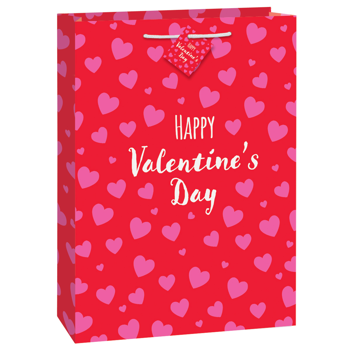 Large Red & Pink Hearts Happy Valentine's Day Gift Bag, 18 x 13 in, 1ct