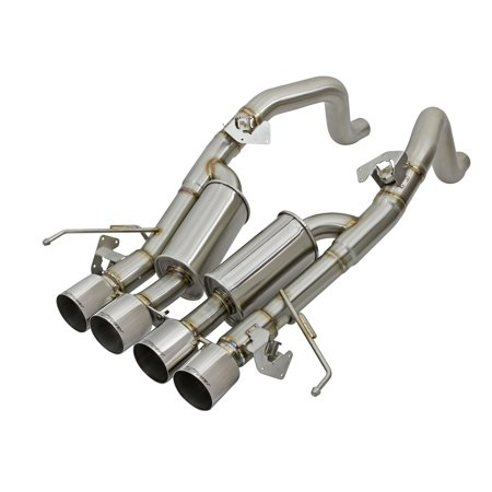 aFe Power 49-34056-P MACH Force-Xp Axle-Back Exhaust System; 3 in. to 2.5 in. Tubing; Incl. Dual Muffler/Hardware/Quad 4 in. Polished Tips; +7 HP/+10 lbs. x ft. of Torque;