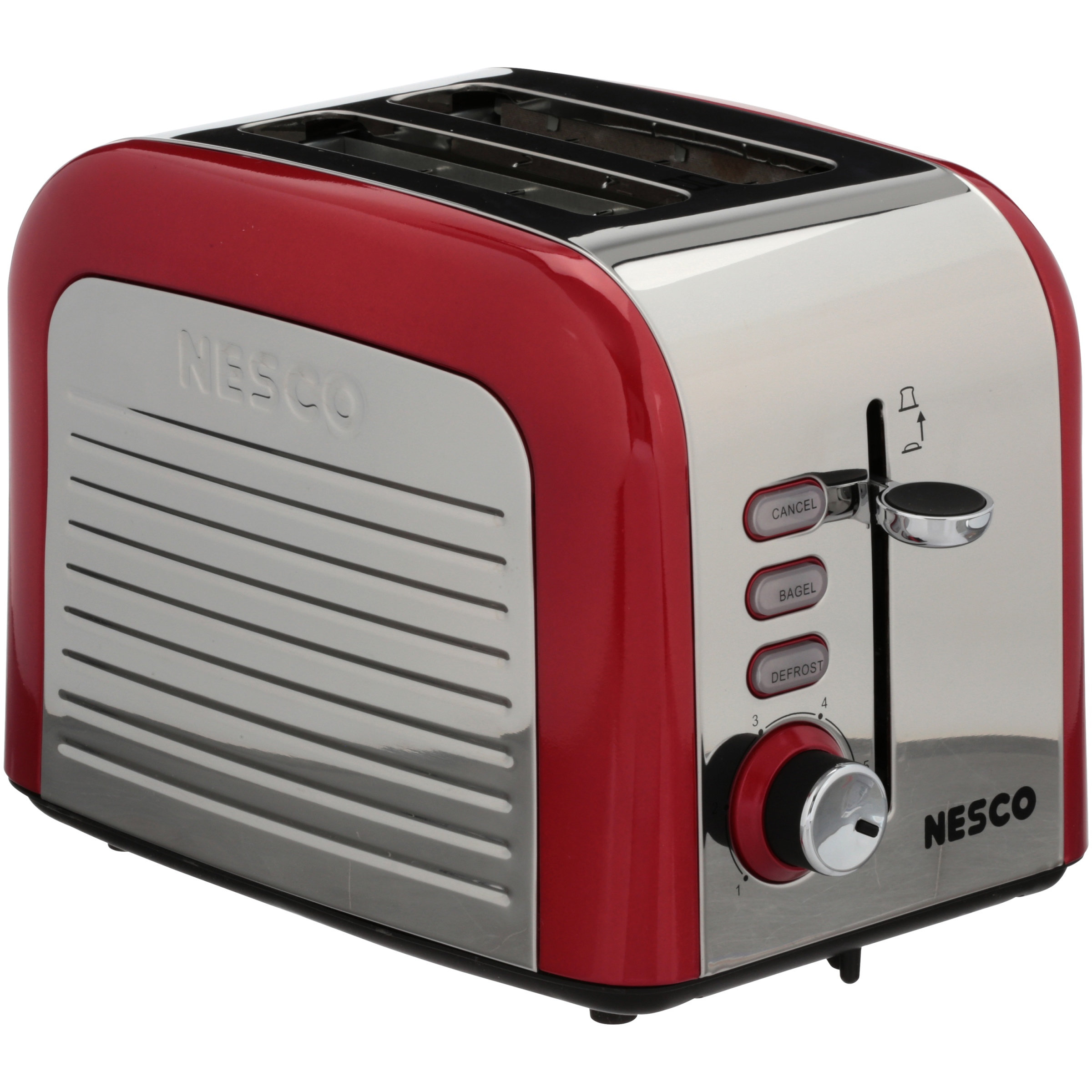 Nesco T1000-12 Everyday 2-Slice Toaster, Red/Chrome