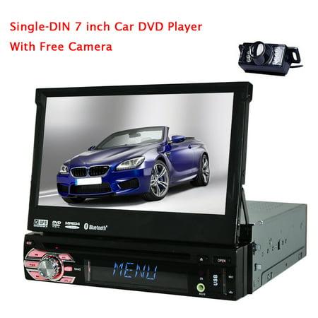 Universal 1 Din Car Stereo Audio Autoradio Electronics GPS Navigation Built In Bluetooth MP4 Aux Windows CE 60 12V 7 DVD Player Input Free Camera