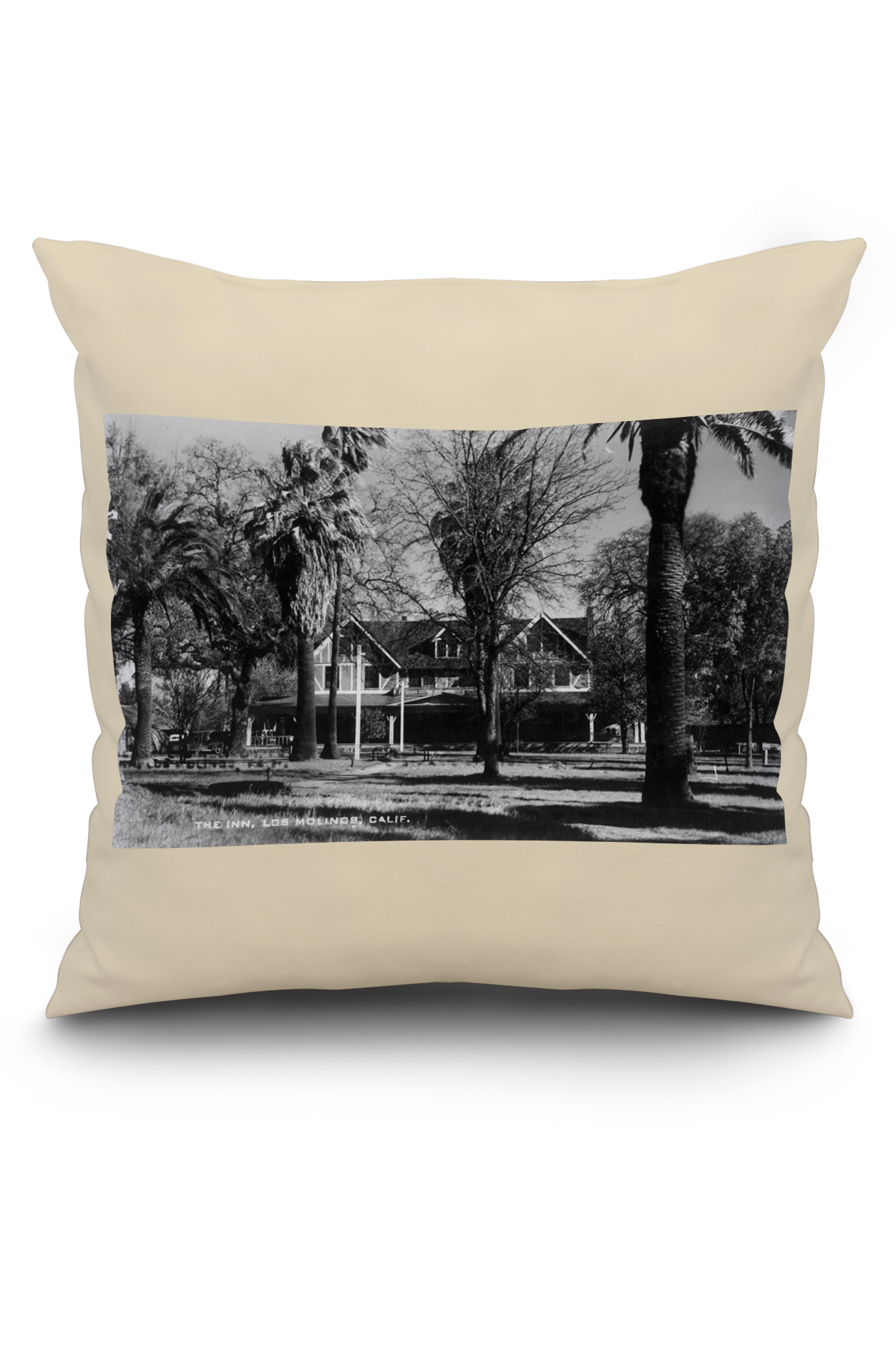 Los Molinos, California   Exterior View Of Los Molinos Inn (20x20 Spun  Polyester Pillow, White Border)