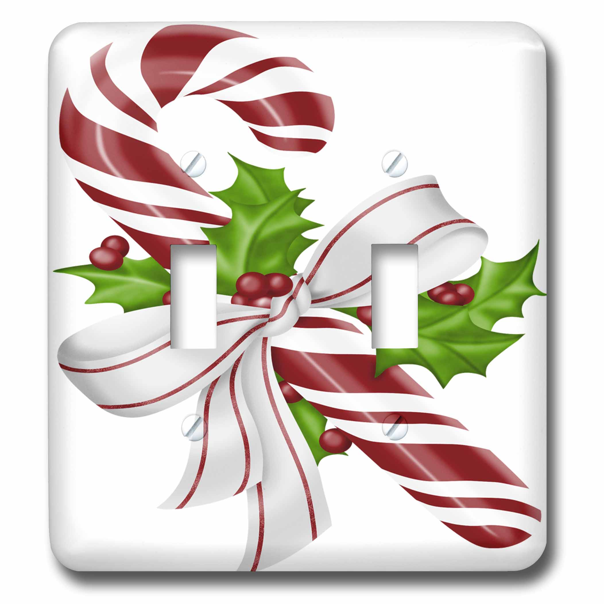 3drose Pretty Red And White Floral Christmas Candy Cane Illustration Double Toggle Switch Lsp 264886 2 Walmart Com Walmart Com