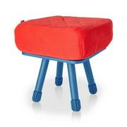 Krukski Stool in Red with Blue Tablitski Cushion