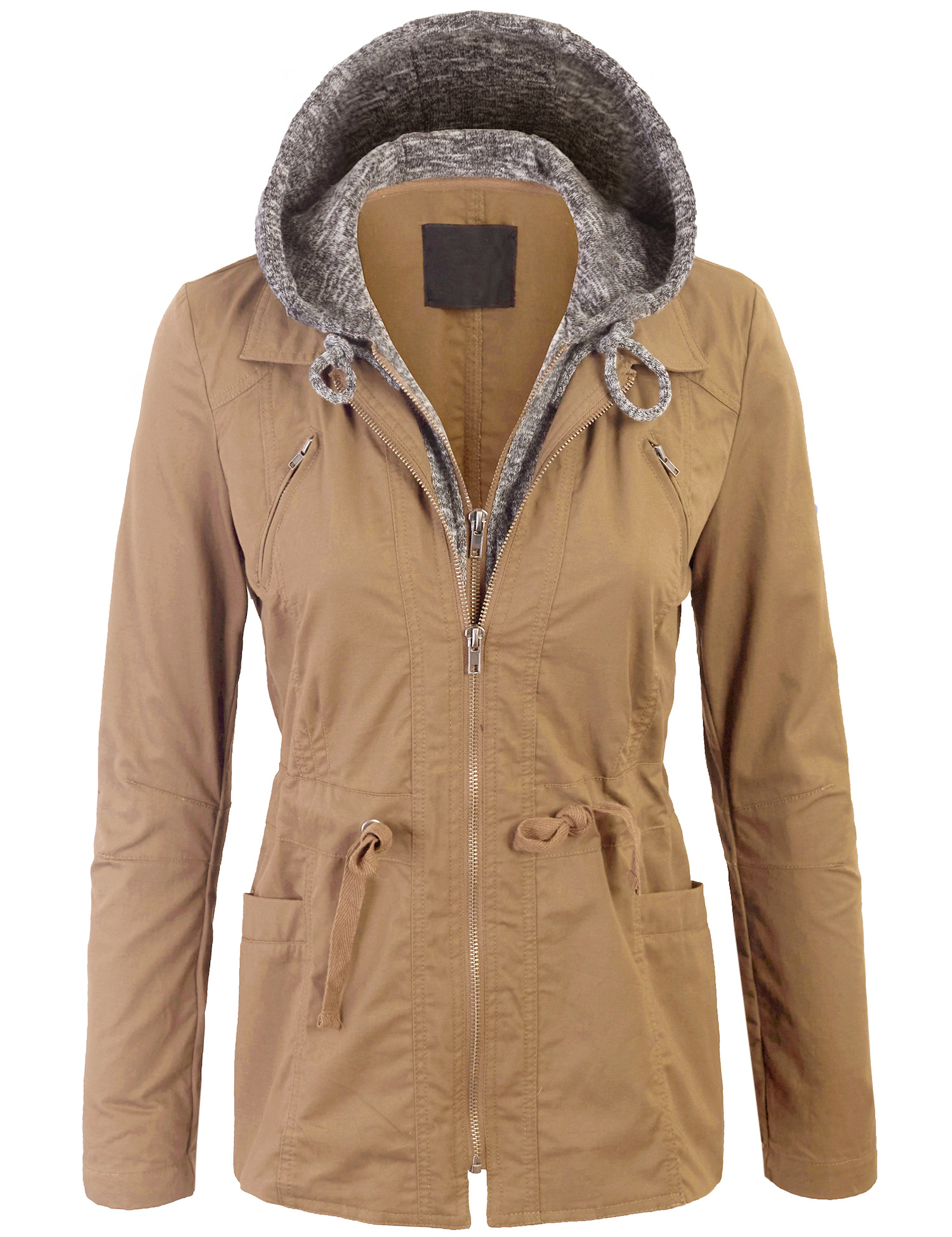 Kogmo Womens Military Anorak Jacket with Knit Hood and Pockets