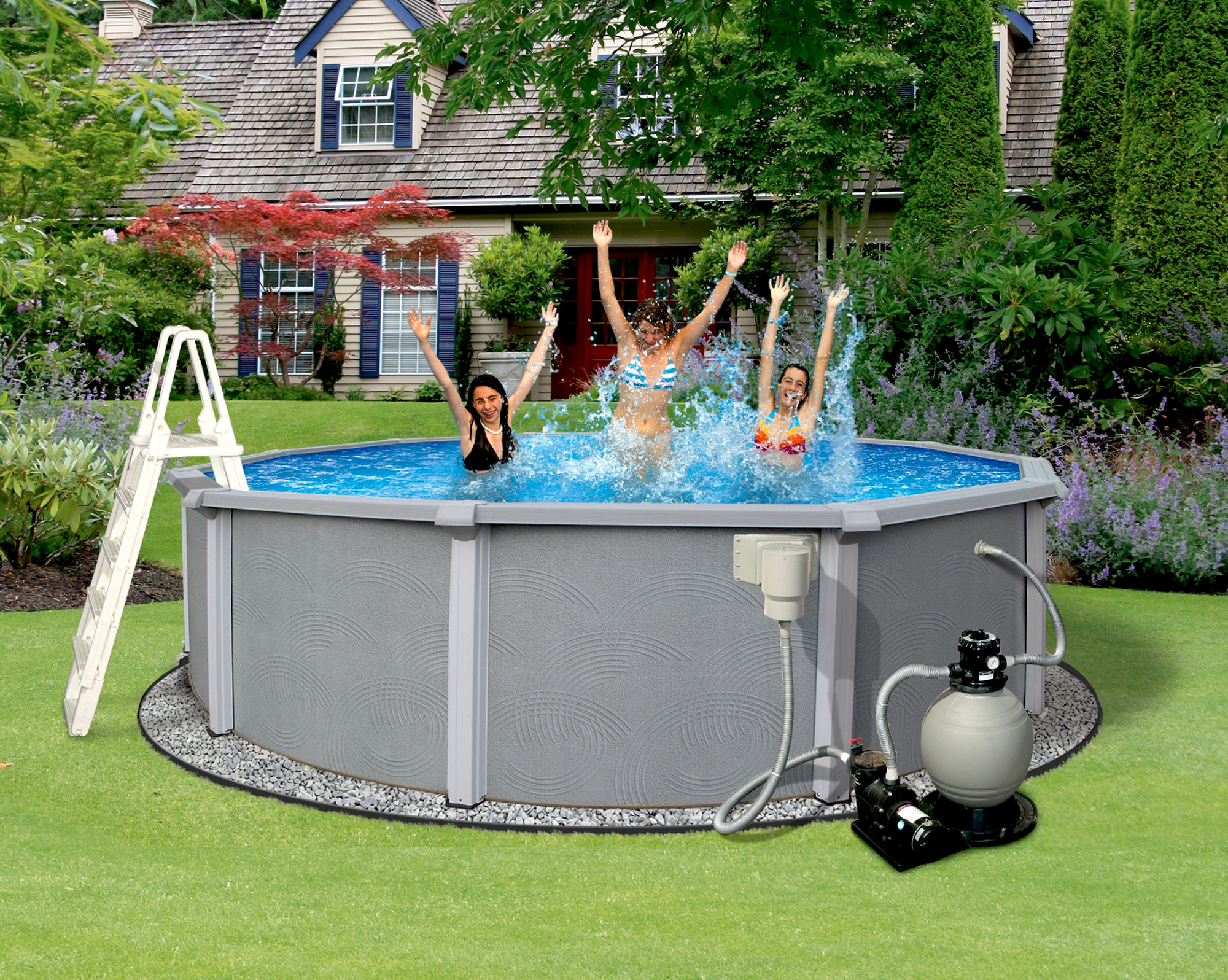Click here to buy Blue Wave Zanzibar 18-ft Round 54-in Deep 8-in Top Rail Metal Wall Swimming Pool Package by Blue Wave.
