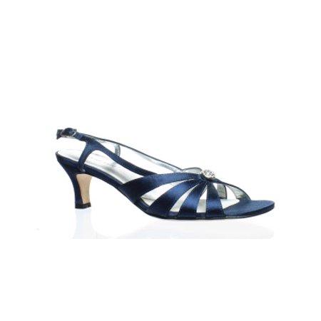 David Tate Womens Rosette (David Tate Womens Rosette Navy Satin Ankle Strap Heels Size 7.5)
