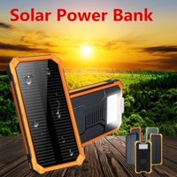 Waterproof 300,000mAh Solar Power Bank Battery Solar Dual USB Port LED Flashlight + Carabiner + USB Cablefor Emergency Outdoor Camping Travel Portable