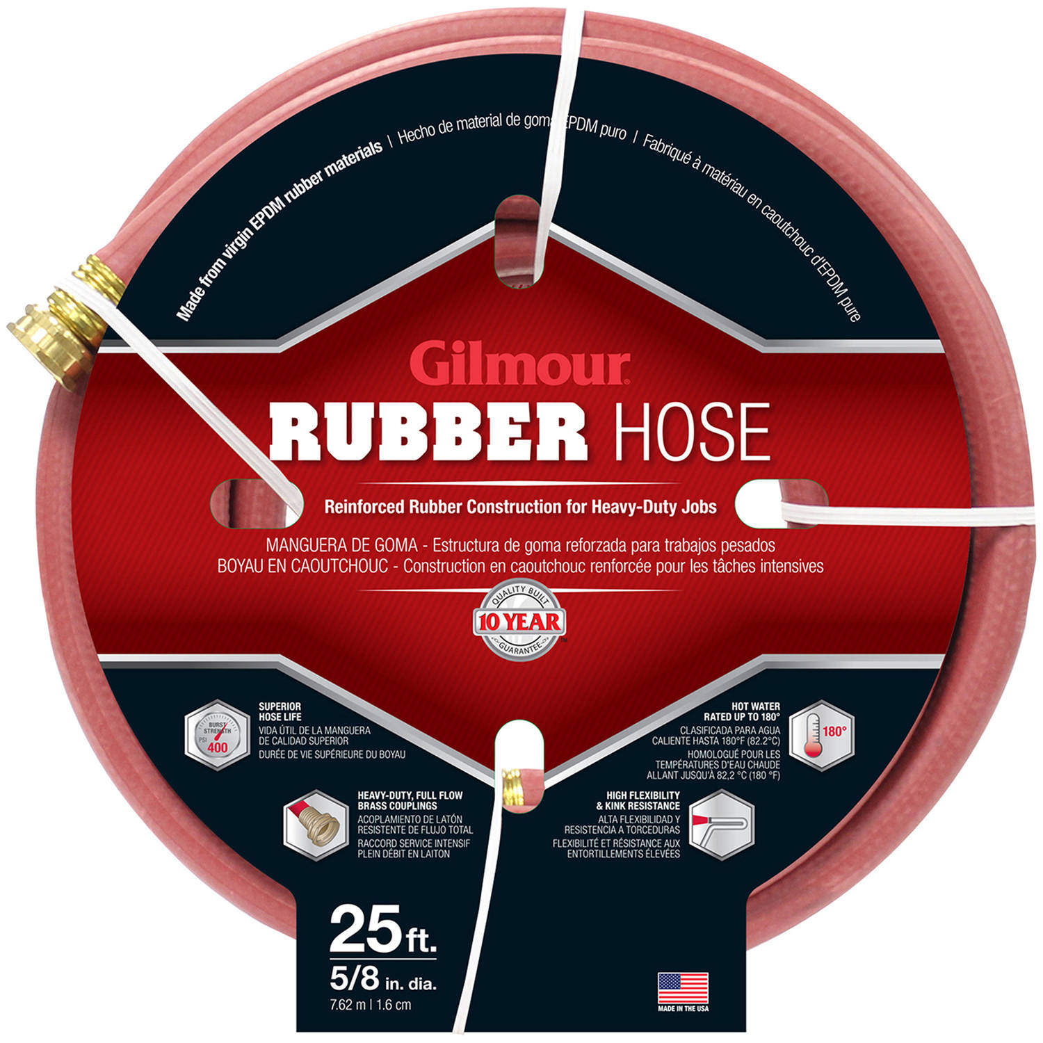 "Gilmour 18058025 25' x 5/8"" Commercial Hot Water Rubber Hose"