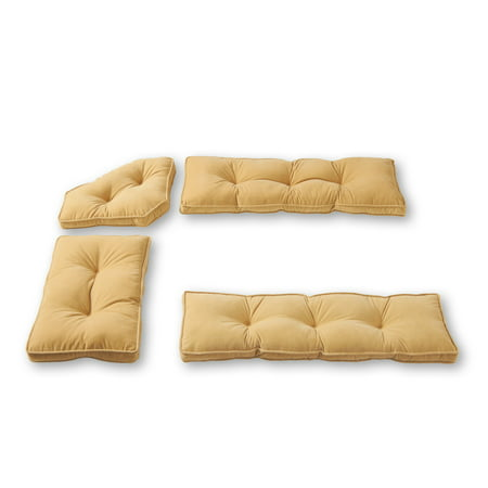 - Hyatt 4-Piece Solid Microfiber Kitchen Nook Cushion Set