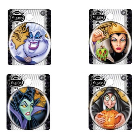 Bundle 4 Items: Disney Villians Buttons (Evil Queen, Wicked Witch, Malficent, and Ursula)
