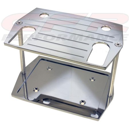 HZ-9329-C Smooth Chrome Billet Aluminum Optima Group 75 by 25 Battery Tray - Chevy Ford Mopar