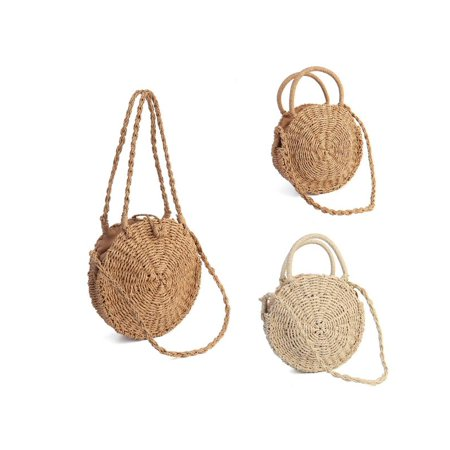 Meigar Women Straw Bag Woven Round Handbag Boho Style Girl Crossbody Bags