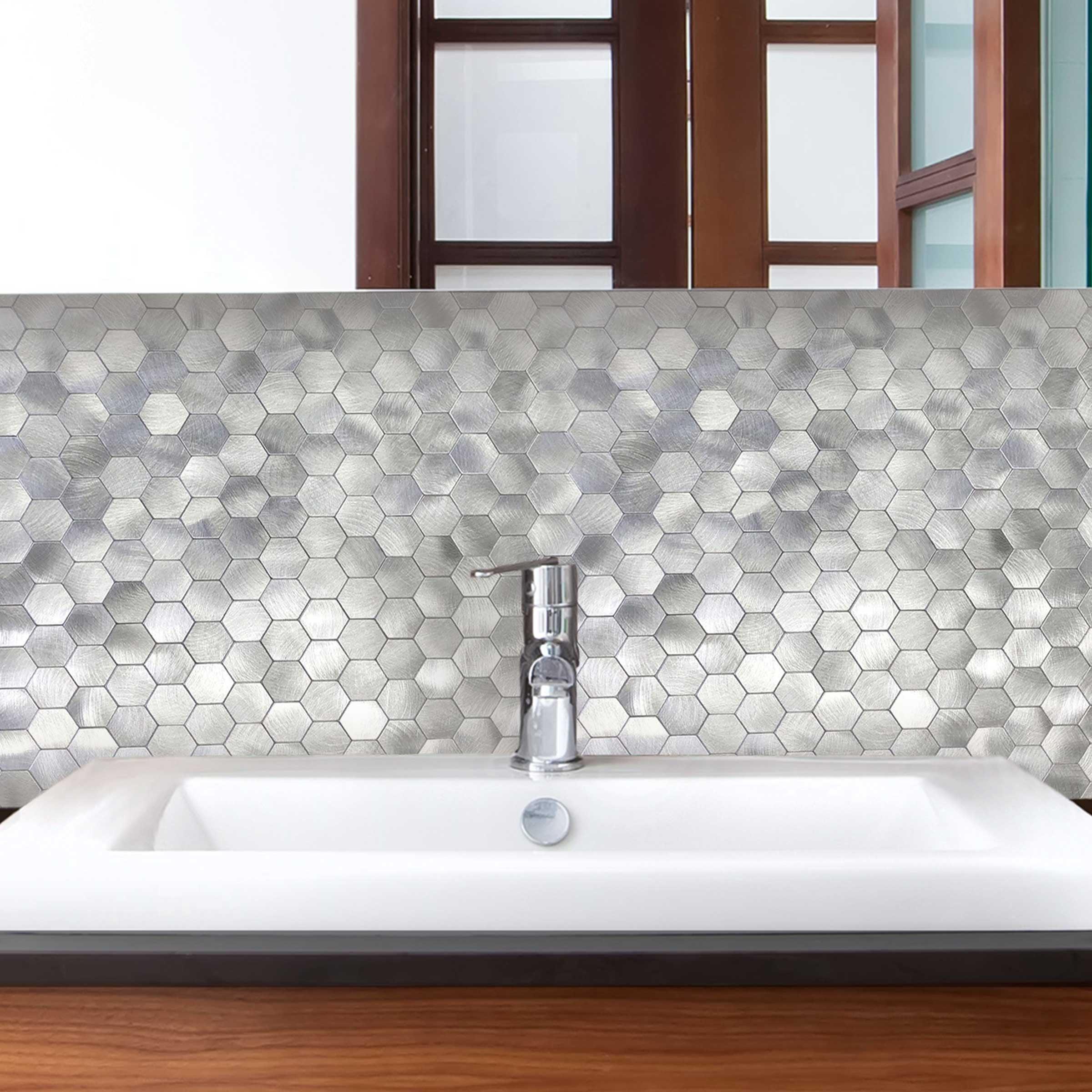 - DIP Mini Silver Subway Tile 10.75 X 13 Self-Adhesive PVC