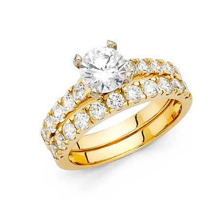 14k Yellow Italian Solid Gold 1.30ctw Prong Set CZ Bridal Engagement Wedding Duo Sets Band & Ring Size 7 Available All Sizes