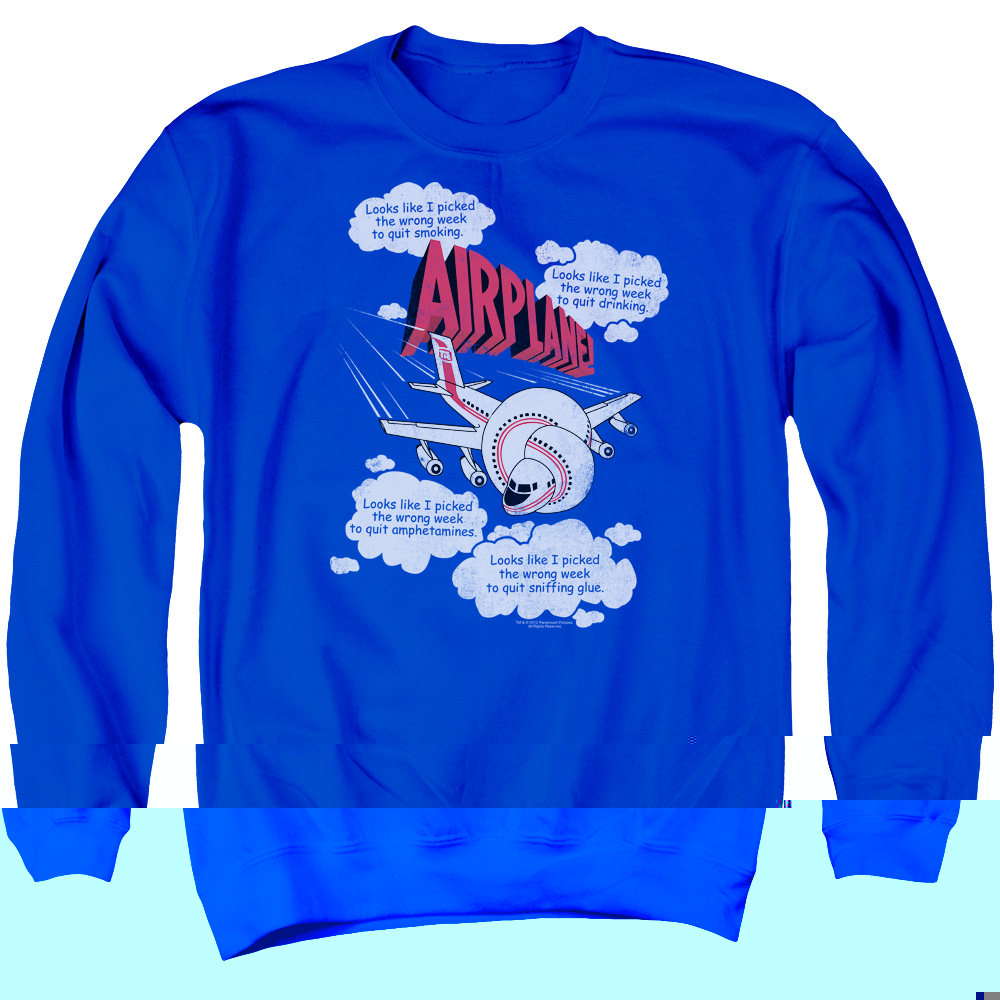 Airplane Picked The Wrong Day Mens Crewneck Sweatshirt