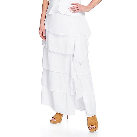 V. by Vanessa Williams Women's Knit & Woven Side Slit Maxi Skirt in White - XS (Vanessa Williams Halloween)