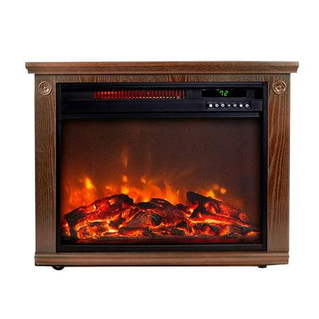 Lifesmart LS-IF1500-DOFP Large Room Quartz Infrared Fireplace Area Heater, Oak