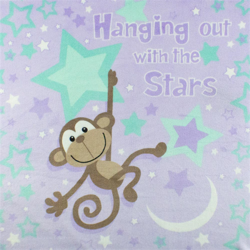 Lavender/Multi Monkey & Star Minky, Fabric By the Yard