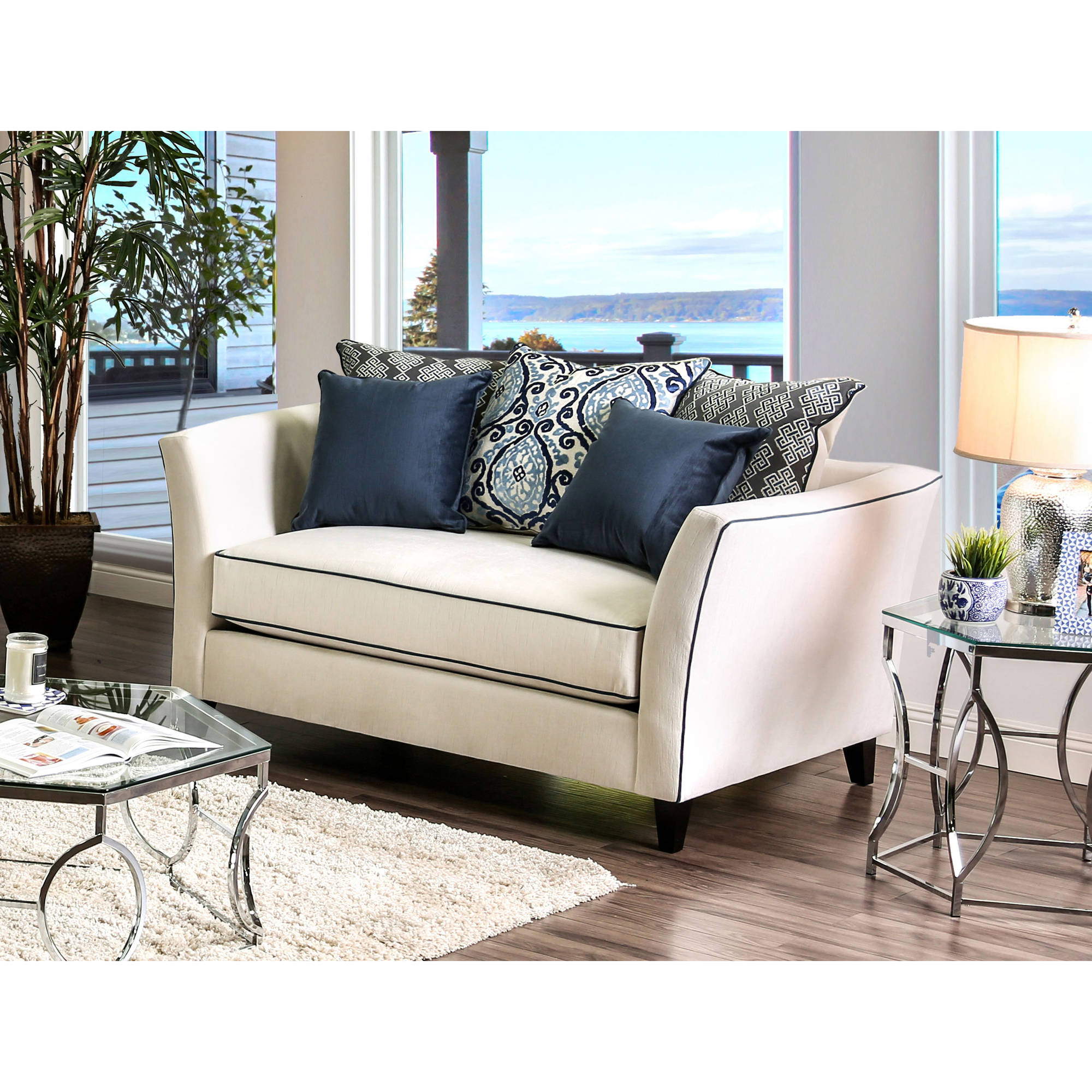 Furniture of America Neville Contemporary Loveseat, Multiple Colors
