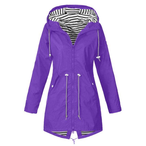 Details about  /Women Solid Rain Outdoor Plus Waterproof Hooded Raincoat Windproof Jacket Coat