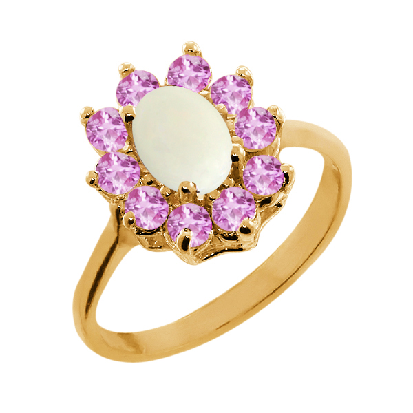 1.13 Ct Simulated Opal Pink Sapphire Gold Plated 925 Silver Ring by