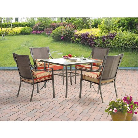 Mainstays Alexandra Square 5-Piece Patio Dining Set, Red Stripe with  Butterflies, Seats - Mainstays Alexandra Square 5-Piece Patio Dining Set, Red Stripe