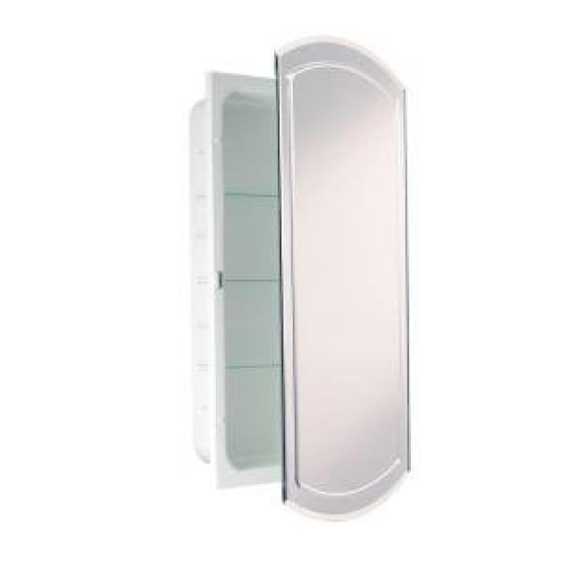 Headwest V Groove Beveled Mirror Recessed Medicine Cabinet, 16 Inch By 30