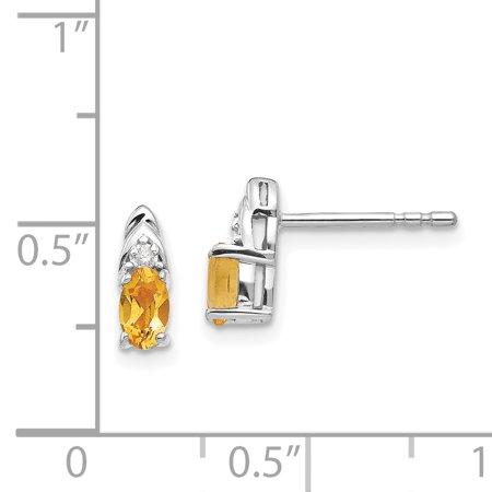 14K White Gold Citrine Diamond Earring - image 1 of 2