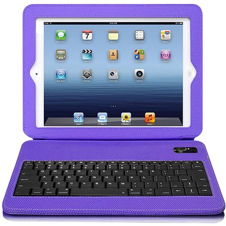 Image of Aluratek Ultra-Slim Non-Slip Grip Folio Case with Keyboard for iPad 2/3/4, Blue
