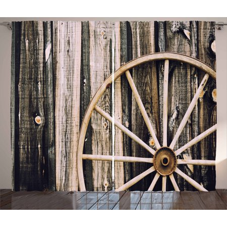 - Barn Wood Wagon Wheel Curtains 2 Panels Set, Wooden Barn Door and Vintage Rusty Wheel Rustic Home Farm, Window Drapes for Living Room Bedroom, 108W X 96L Inches, Black Pale Brown, by Ambesonne