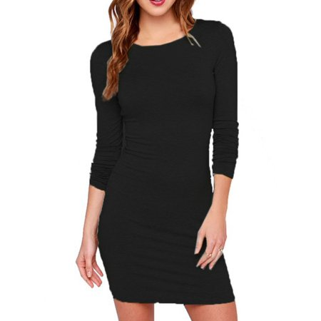 Nicesee Women Long Sleeve Bodycon Autumn Evening Party Black Basic