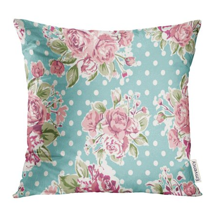 CMFUN Red Flower Pink Vintage Rose Pattern on Green Colorful Floral Pillow Case 16x16 Inches Pillowcase ()