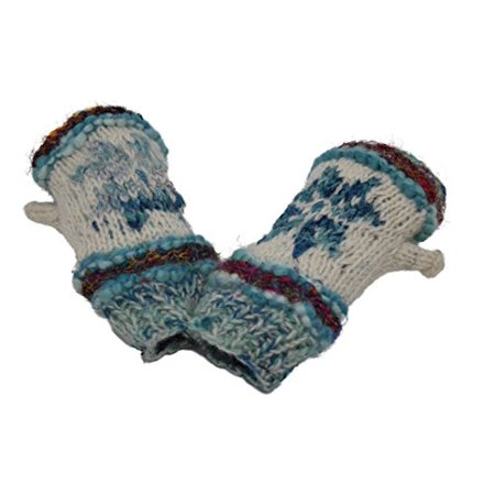 Snowflake Fair Isle Insulated Lined Cable Knit Arm Warmer Fingerless Gloves Thumb Hole Gloves Mittens (Blue)