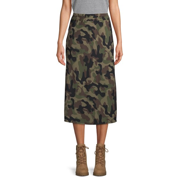 Scoop Midi Slip Skirt Camo Print Women's