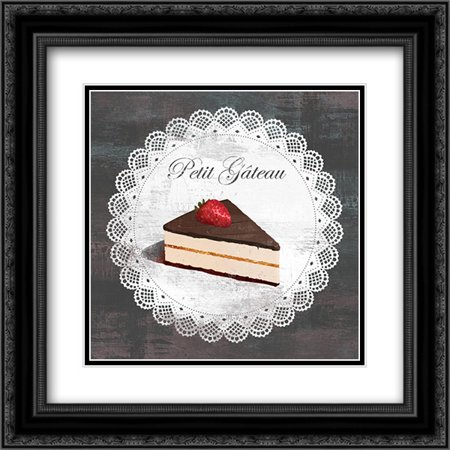 Petit Gateau 2x Matted 20x20 Black Ornate Framed Art Print by Fischer, David