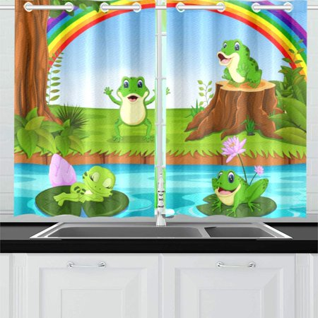 MKHERT Frog Swimming Window Curtain Kitchen Curtain 26x39 inch,Two -