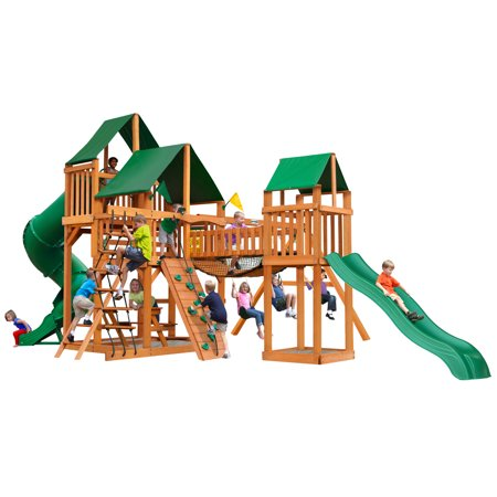 Gorilla Playsets Treasure Trove I Wooden Swing Set with Sunbrella® Canvas Canopy, 2 Slides, and Rock Climbing Wall
