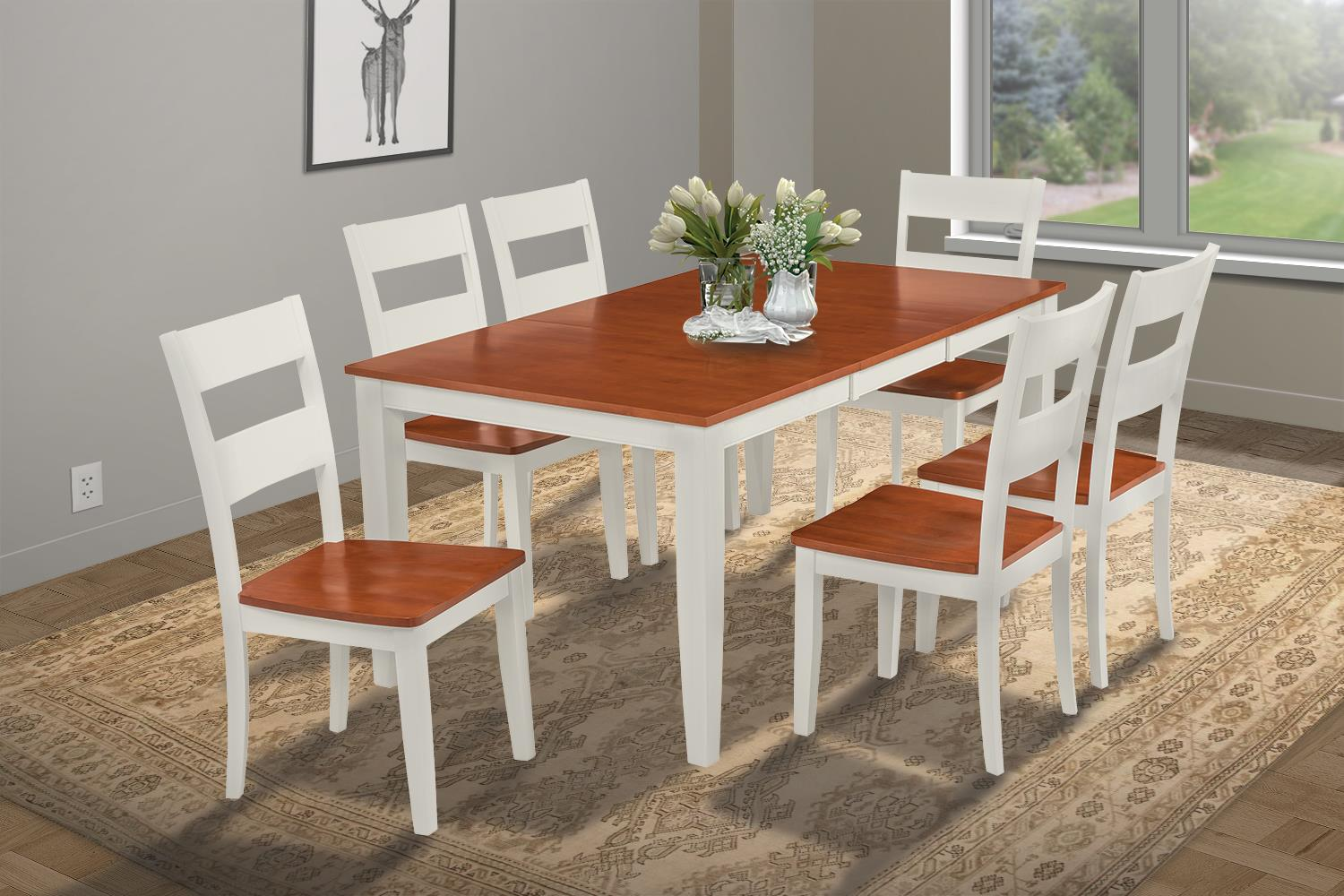 7 Piece Dining Room Set Table With A Butterfly Leaf And 6 Dining Chairs-Finish:White Cherry,Shape:Rectangular by M&D Furniture